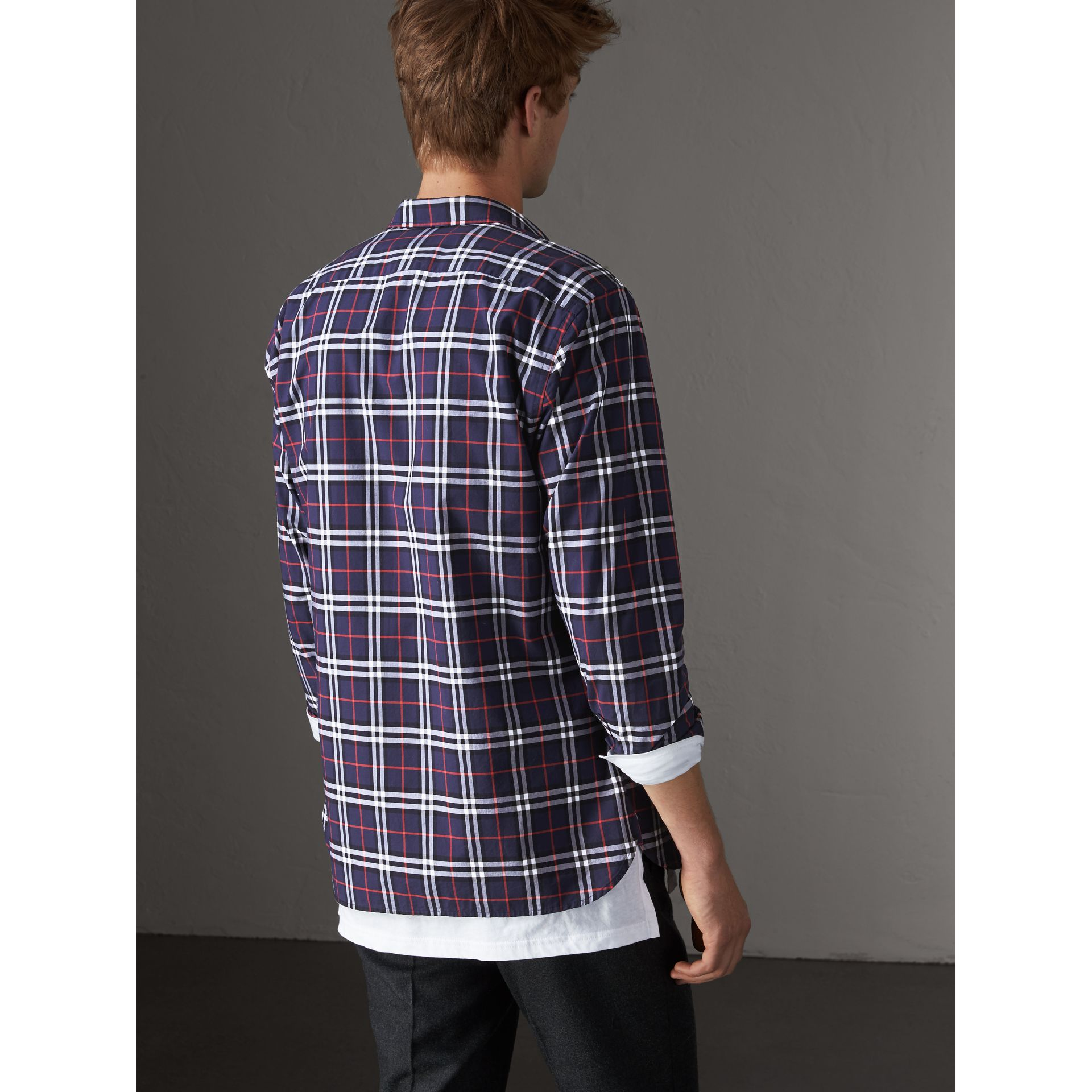 Check Cotton Shirt in Navy - Men | Burberry United Kingdom - gallery image 2