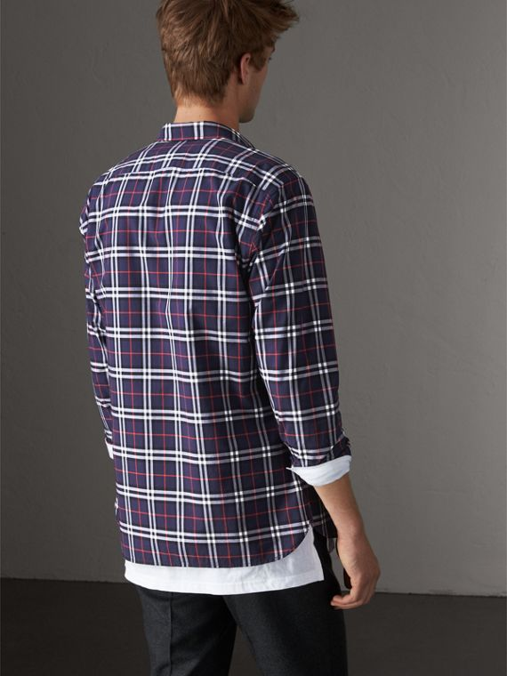 Check Cotton Shirt in Navy - Men | Burberry Singapore - cell image 2