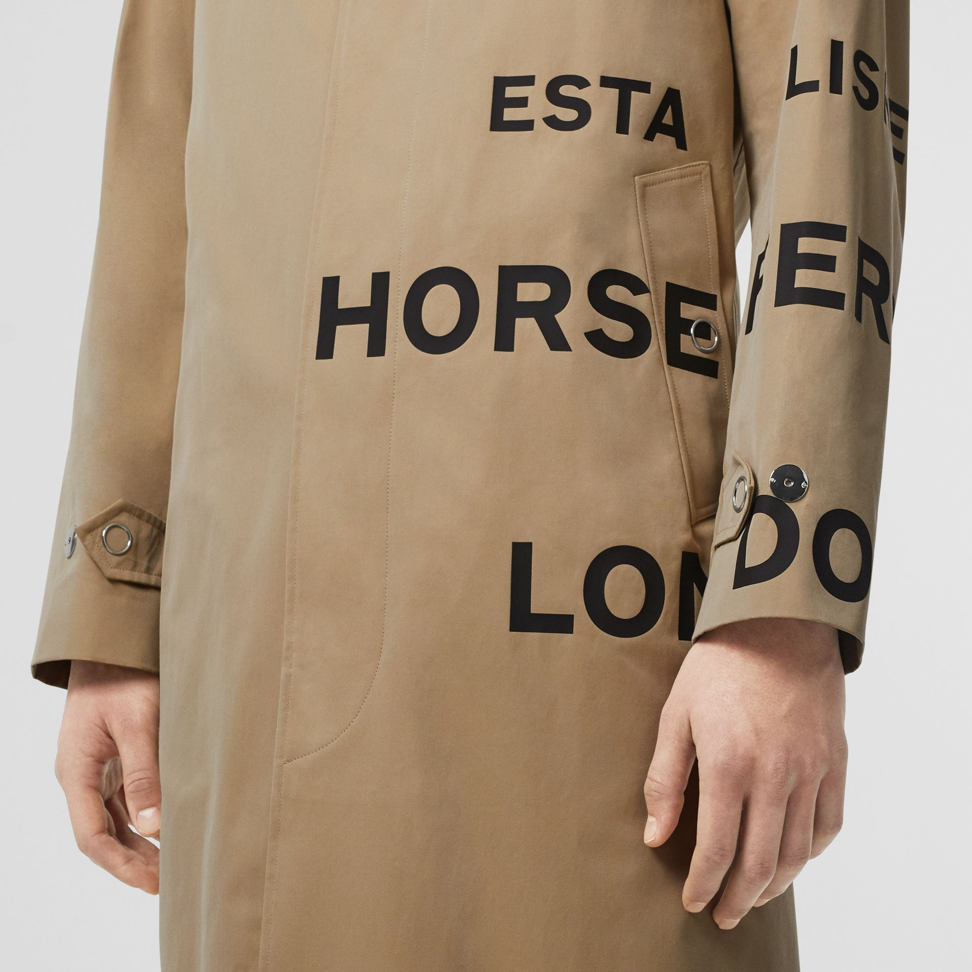 Horseferry Print Cotton Gabardine Car Coat in Honey - Men | Burberry - gallery image 4