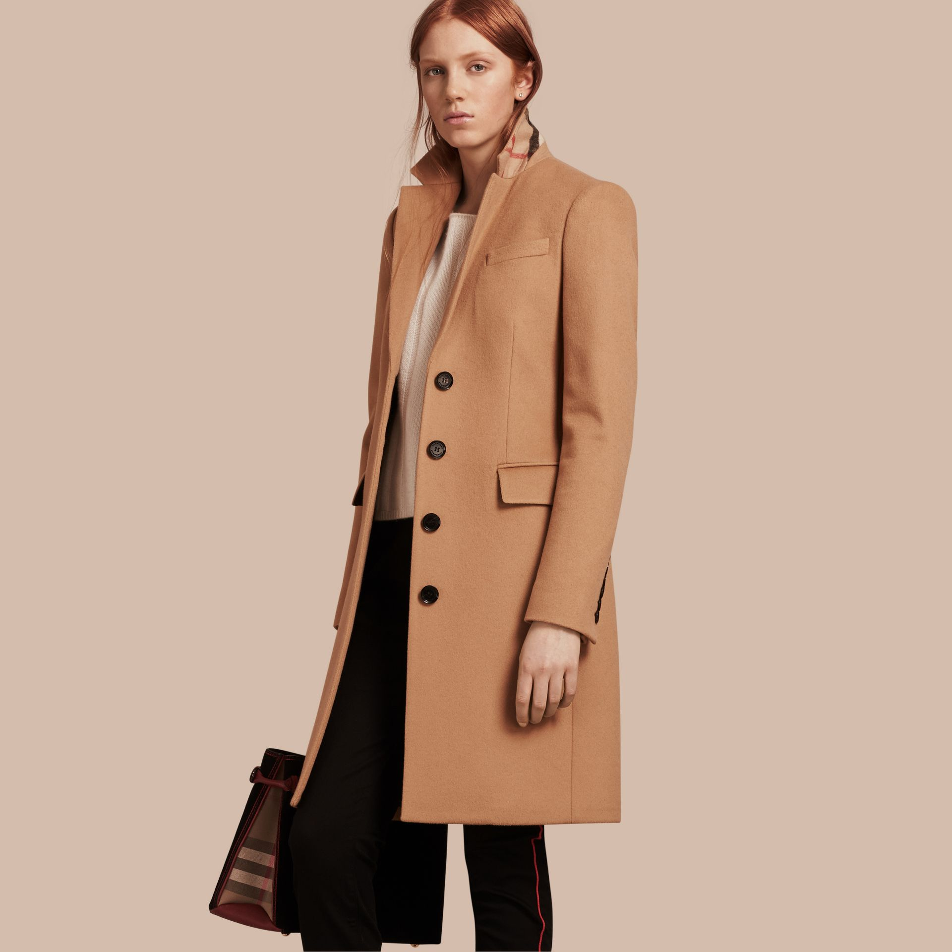 Wool Cashmere Tailored Coat in Camel - gallery image 1