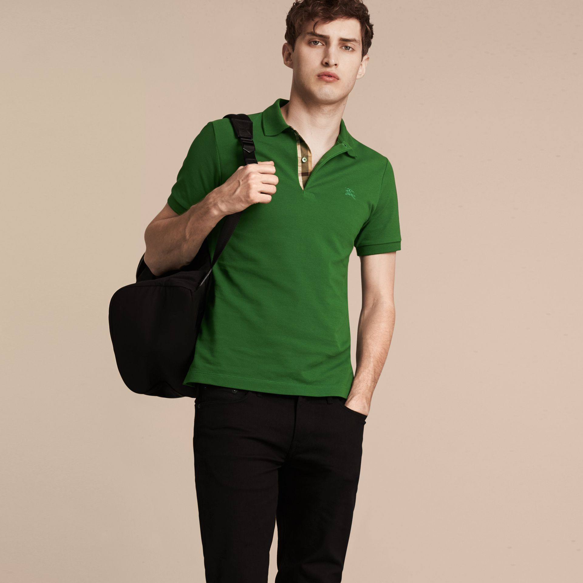 Check Placket Cotton Piqué Polo Shirt in Bright Fern Green - Men | Burberry - gallery image 6