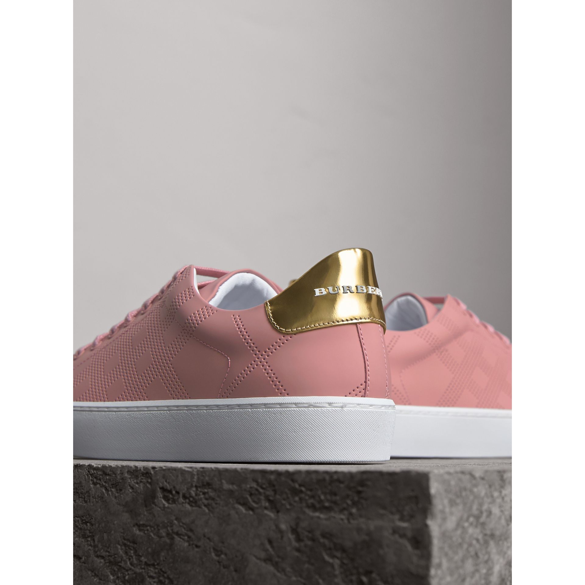 Perforated Check Leather Trainers in Rose Pink - gallery image 3