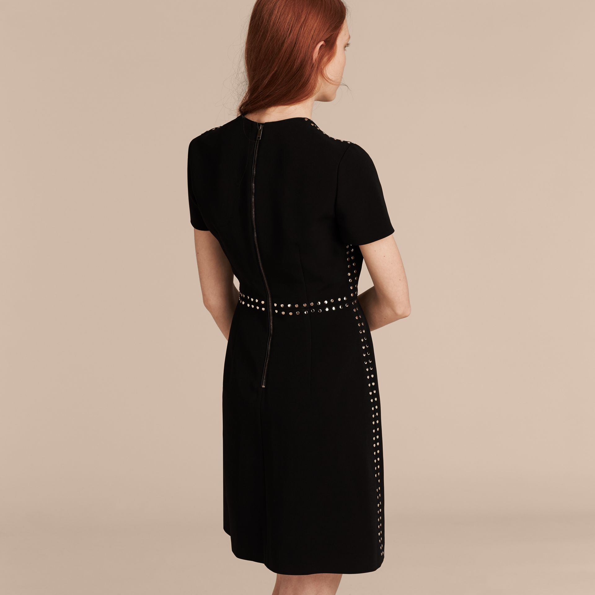 Black Fitted Shift Dress with Studs - gallery image 3