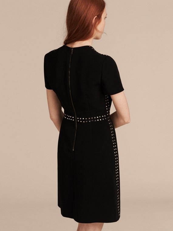 Black Fitted Shift Dress with Studs - cell image 2