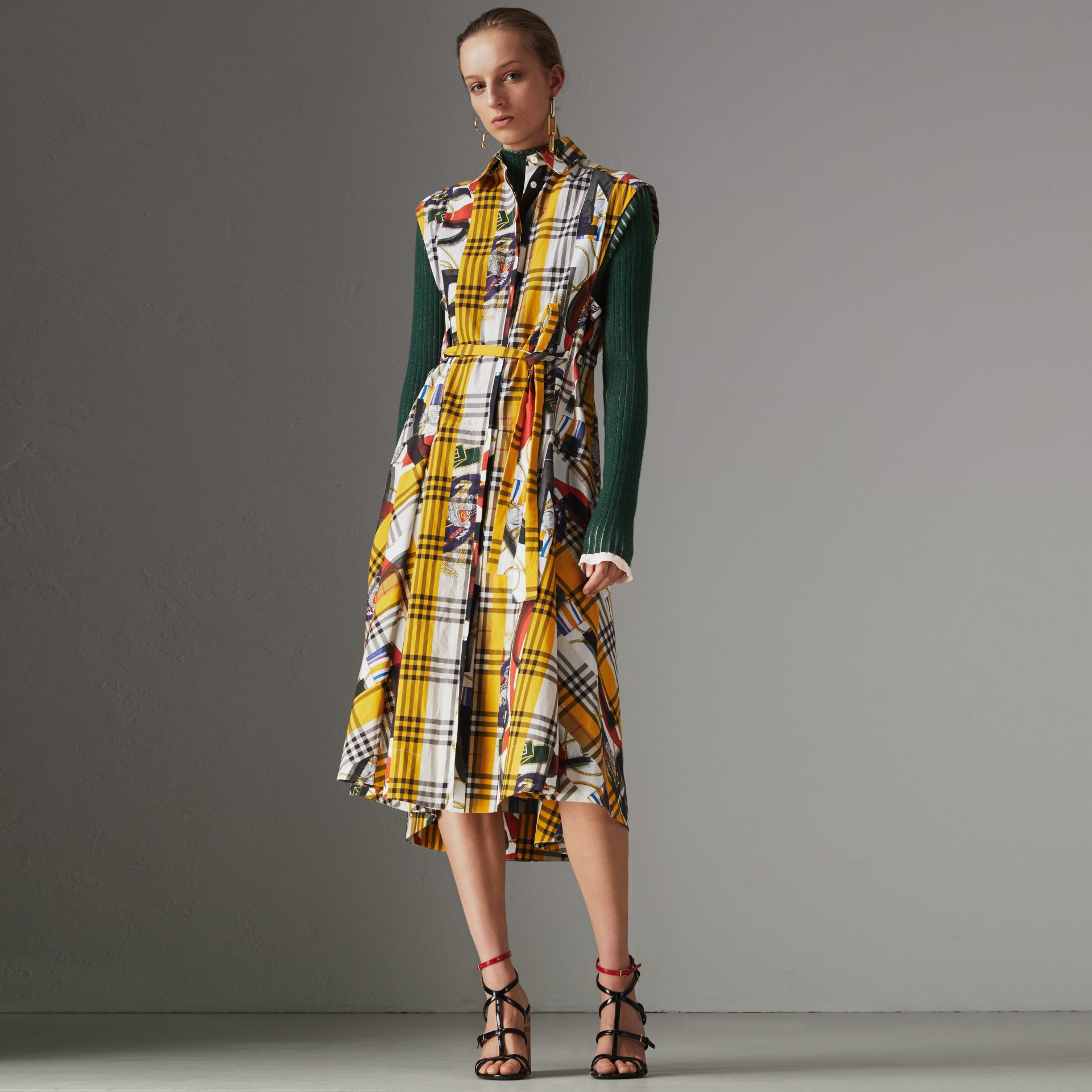 Archive Scarf Print Check Cotton Shirt Dress in Multicolour - Women | Burberry United States - gallery image 0
