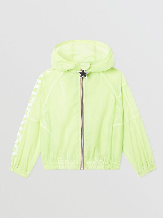 Star Detail Logo Print Lightweight Hooded Jacket in Pistachio