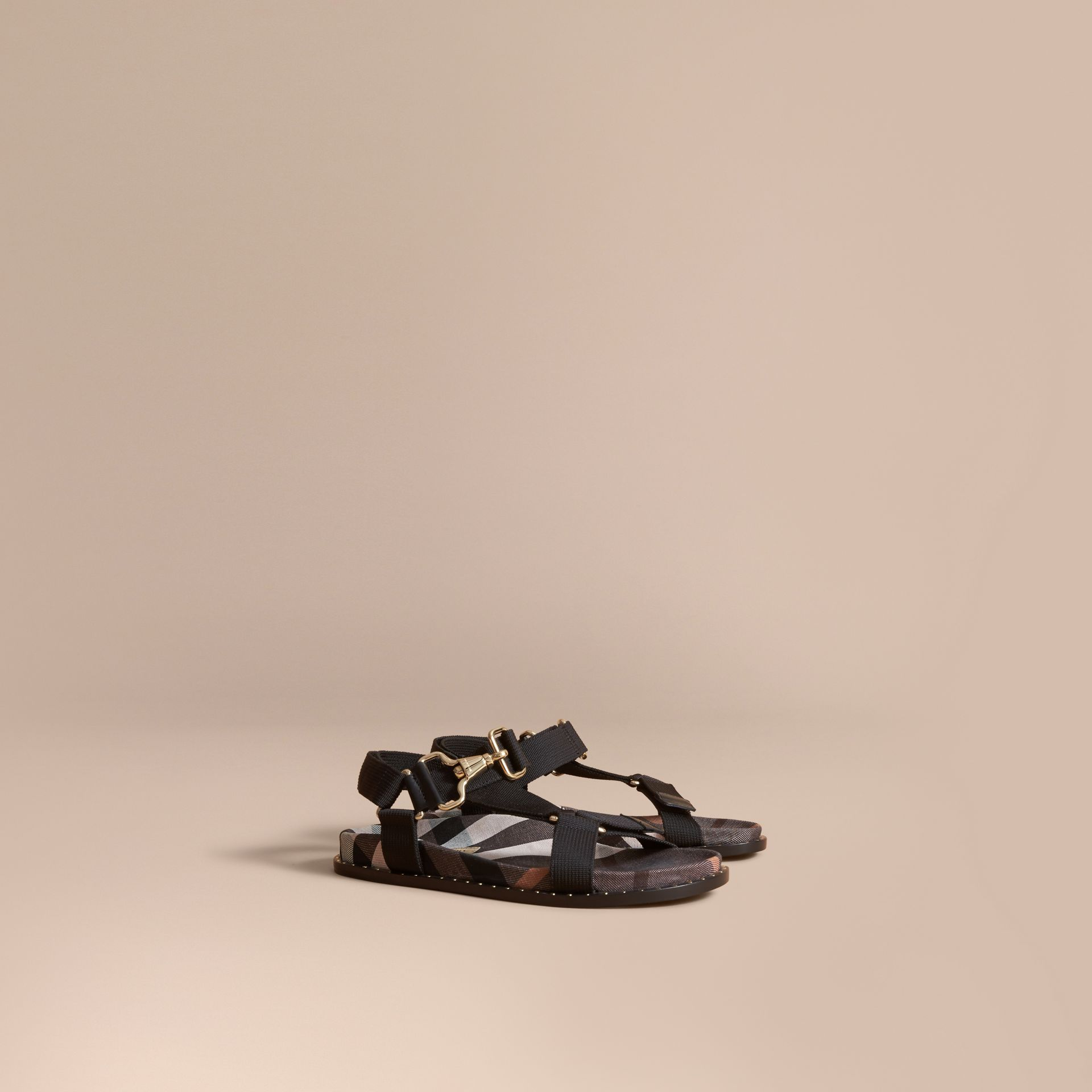 Hardware Detail Check Three-point Strap Ripstop Sandals in Antique Rose - Women | Burberry Canada - gallery image 1