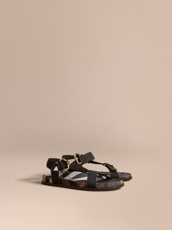Hardware Detail Check Three-point Strap Ripstop Sandals in Antique Rose