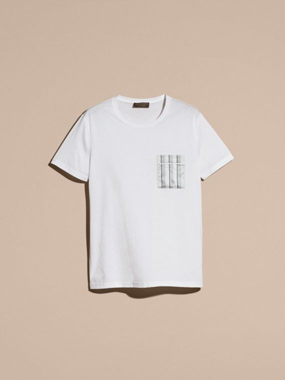White Cotton T-shirt with Pyjama Stripe Pocket - cell image 3