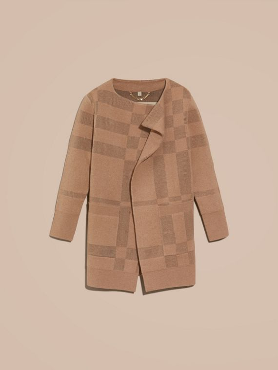 Honey Wool Cashmere Knitted Check Jacket - cell image 3