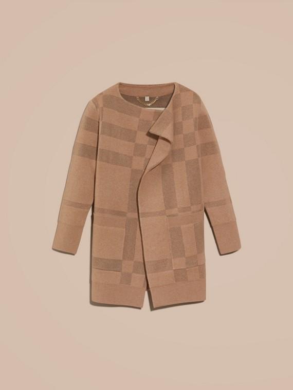 Mel Jaqueta de malha de lã e cashmere com estampa xadrez - cell image 3