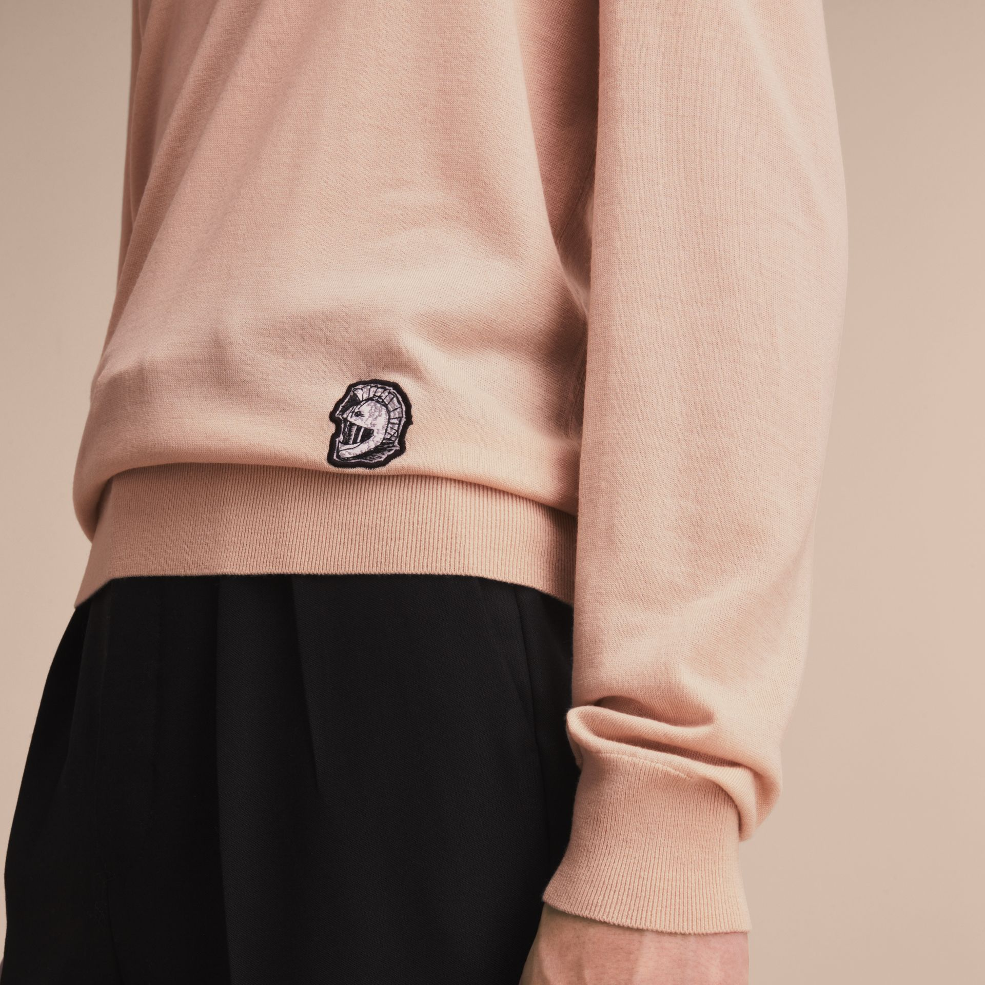 Pallas Helmet Motif Merino Wool V-neck Sweater in Biscuit - Men | Burberry - gallery image 5