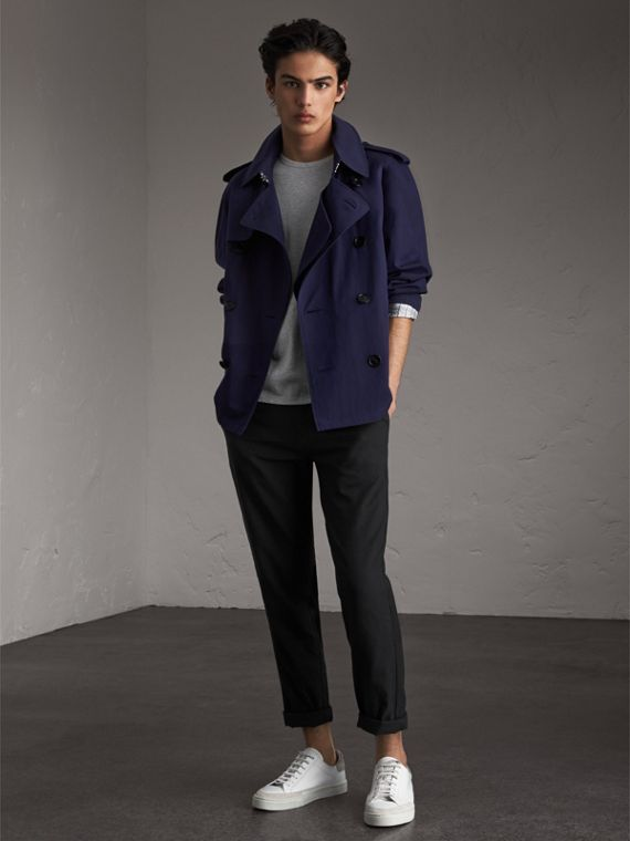 Unisex Tropical Gabardine Trench Jacket in Blueberry - Women | Burberry Singapore - cell image 2