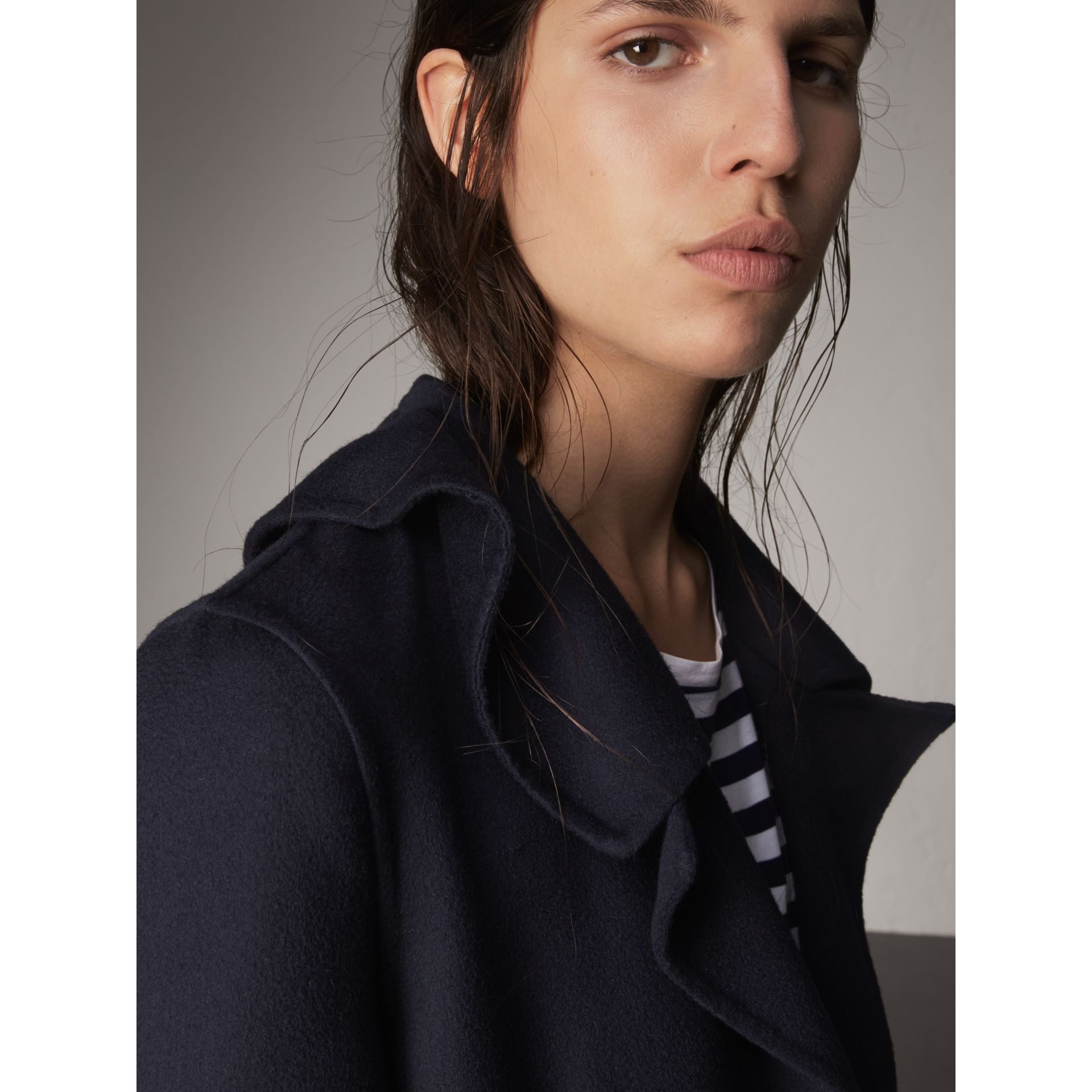Ruffled Collar Wool Cashmere Coat in Navy - Women | Burberry Canada - gallery image 2