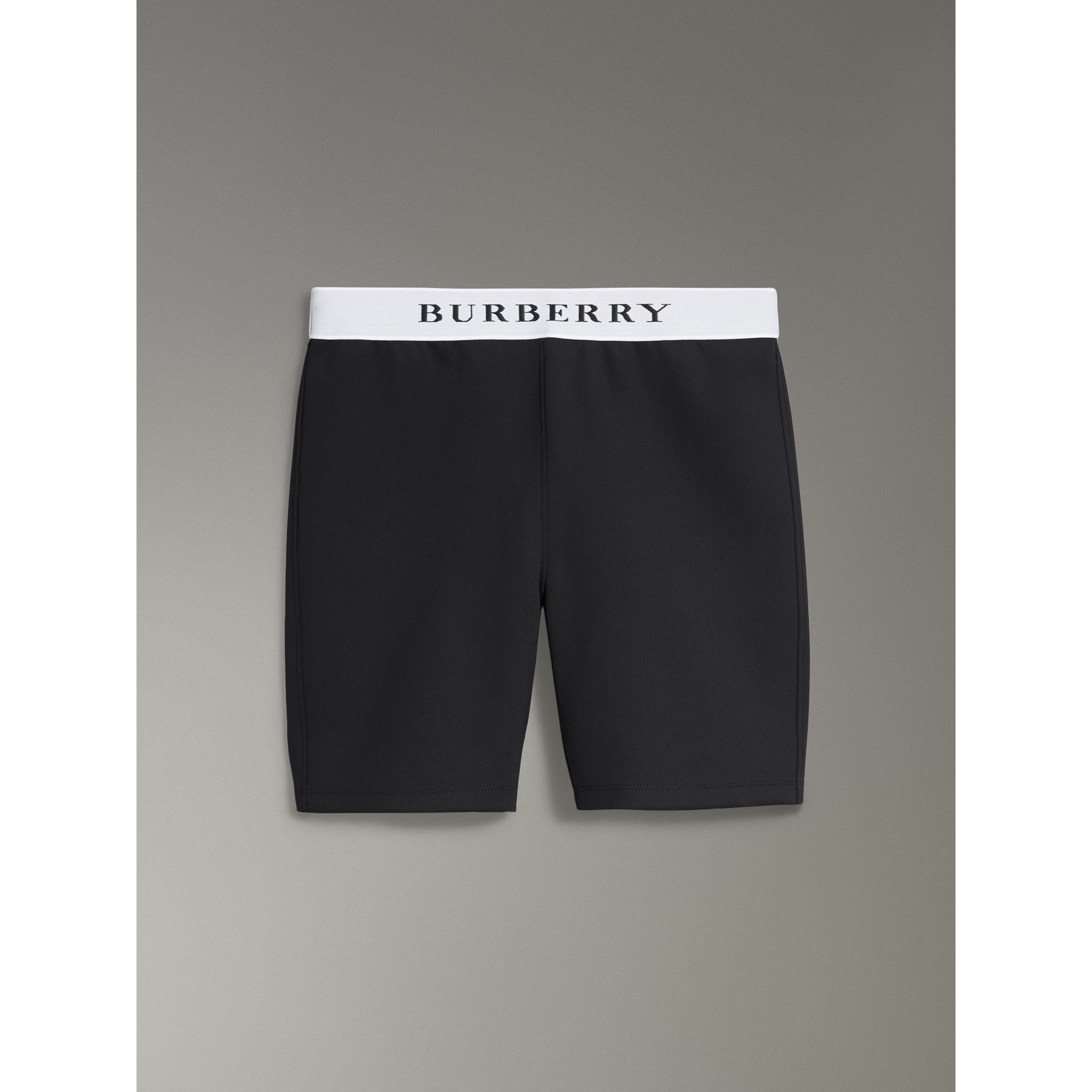Logo Stretch Jersey Shorts in Black - Women | Burberry - gallery image 1