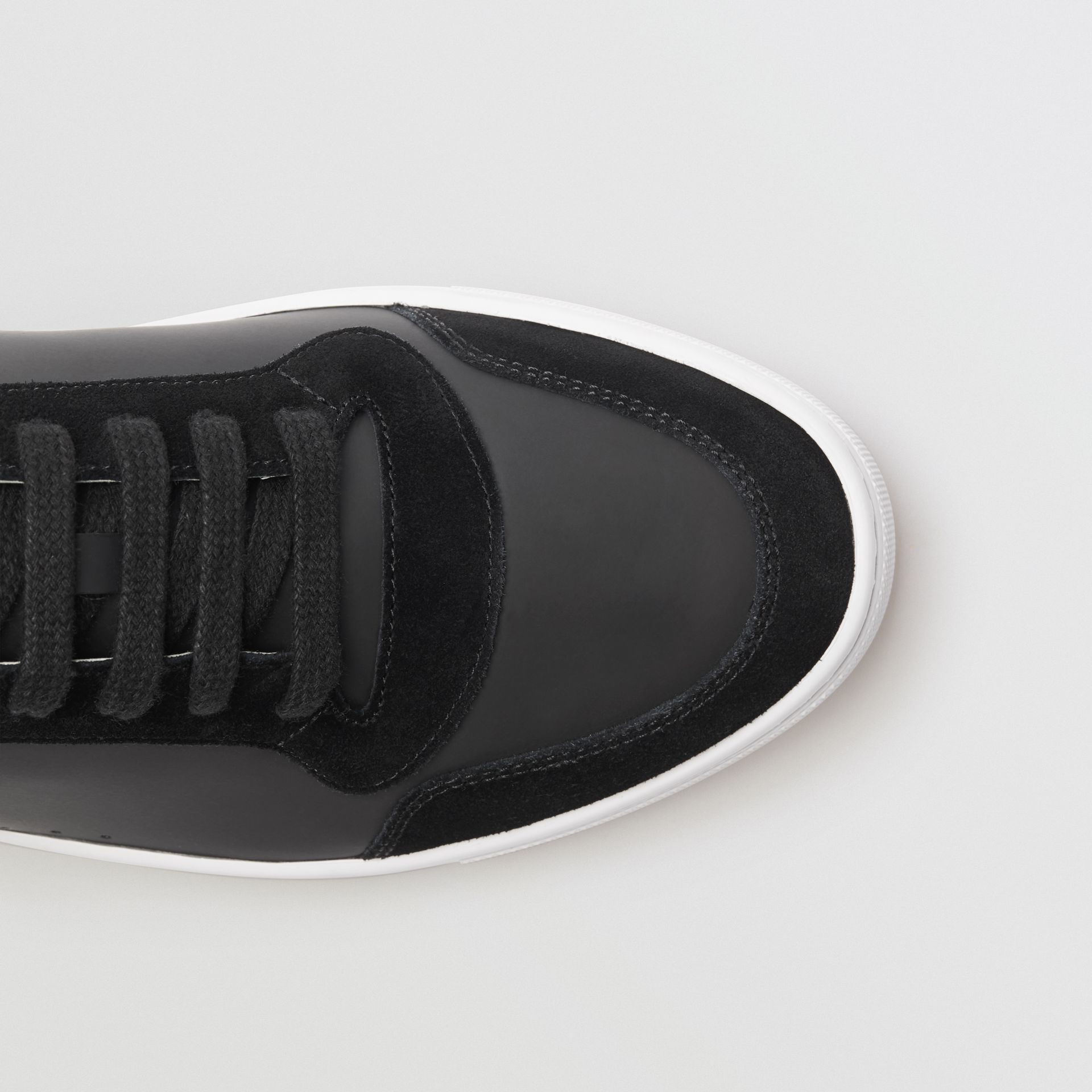 Leather and House Check Sneakers in Black - Men | Burberry - gallery image 1