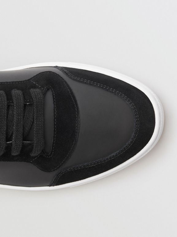 Leather and House Check Sneakers in Black - Men | Burberry - cell image 1