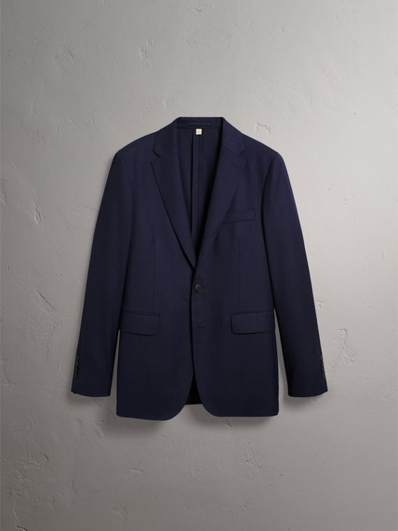 Soho Fit Herringbone Wool Suit in Navy - Men | Burberry United States - cell image 3