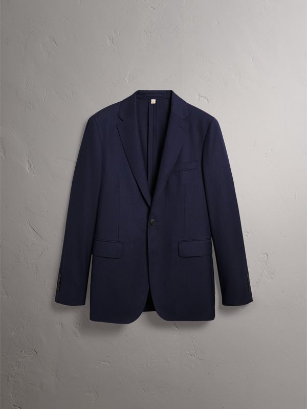 Soho Fit Herringbone Wool Suit in Navy - Men | Burberry - cell image 3