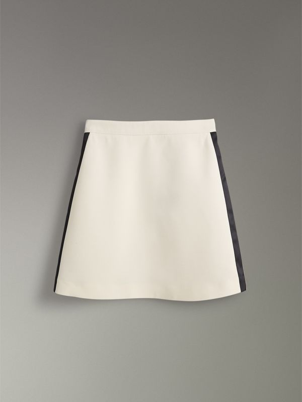 Gonna in lana e seta con fasce sportive (Bianco Sporco) - Donna | Burberry - cell image 3