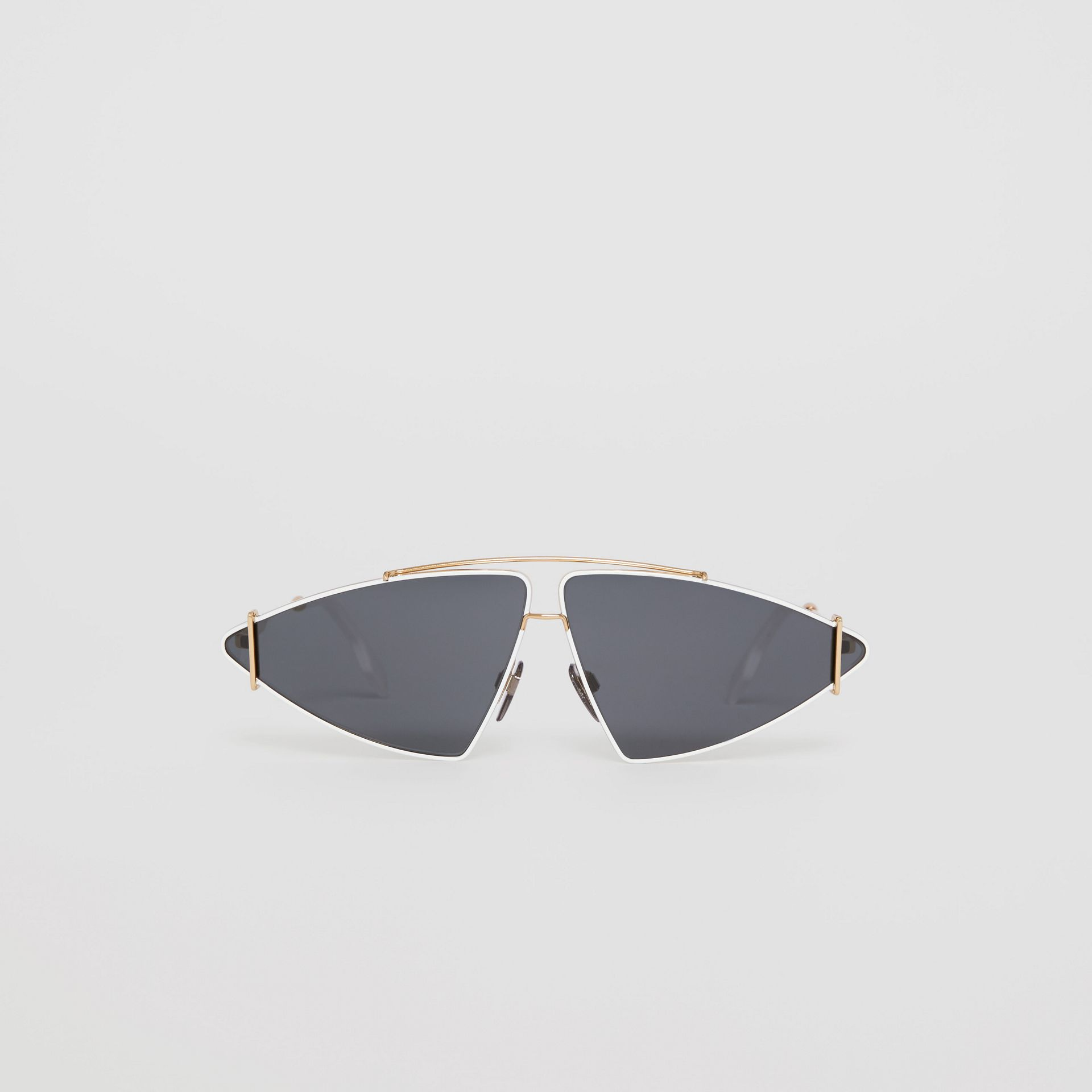 Gold-plated Triangular Frame Sunglasses in White - Women | Burberry - gallery image 0