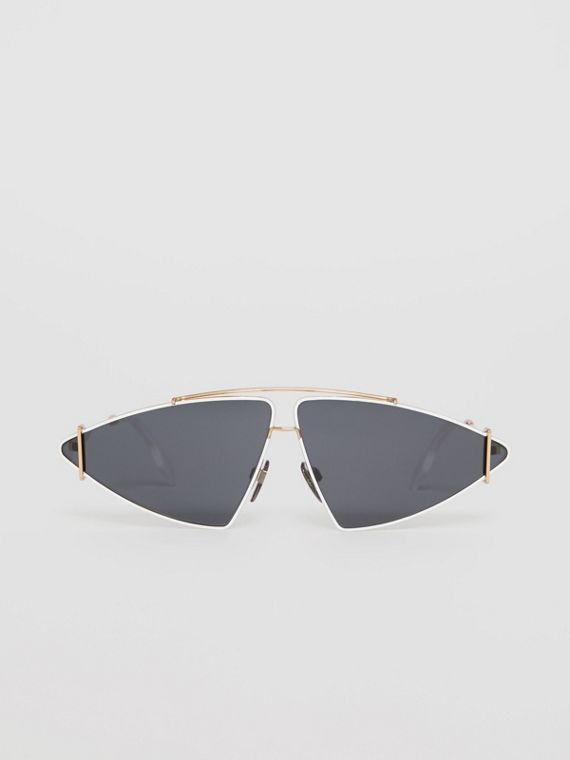Gold-plated Triangular Frame Sunglasses in White