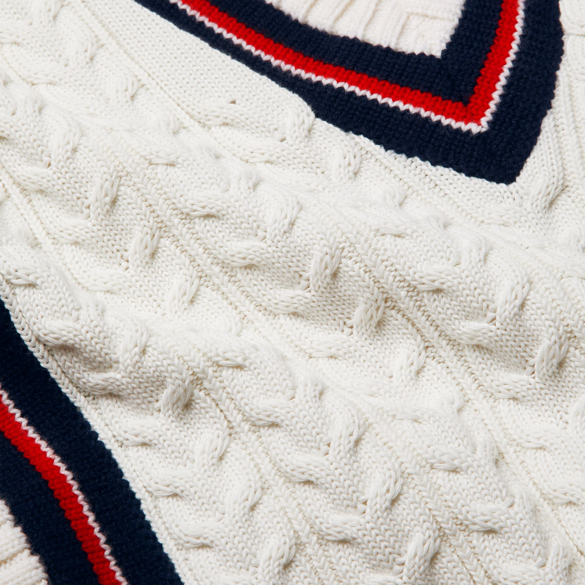 Stripe Detail Cotton and Merino Wool Sweater in White | Burberry - gallery image 1