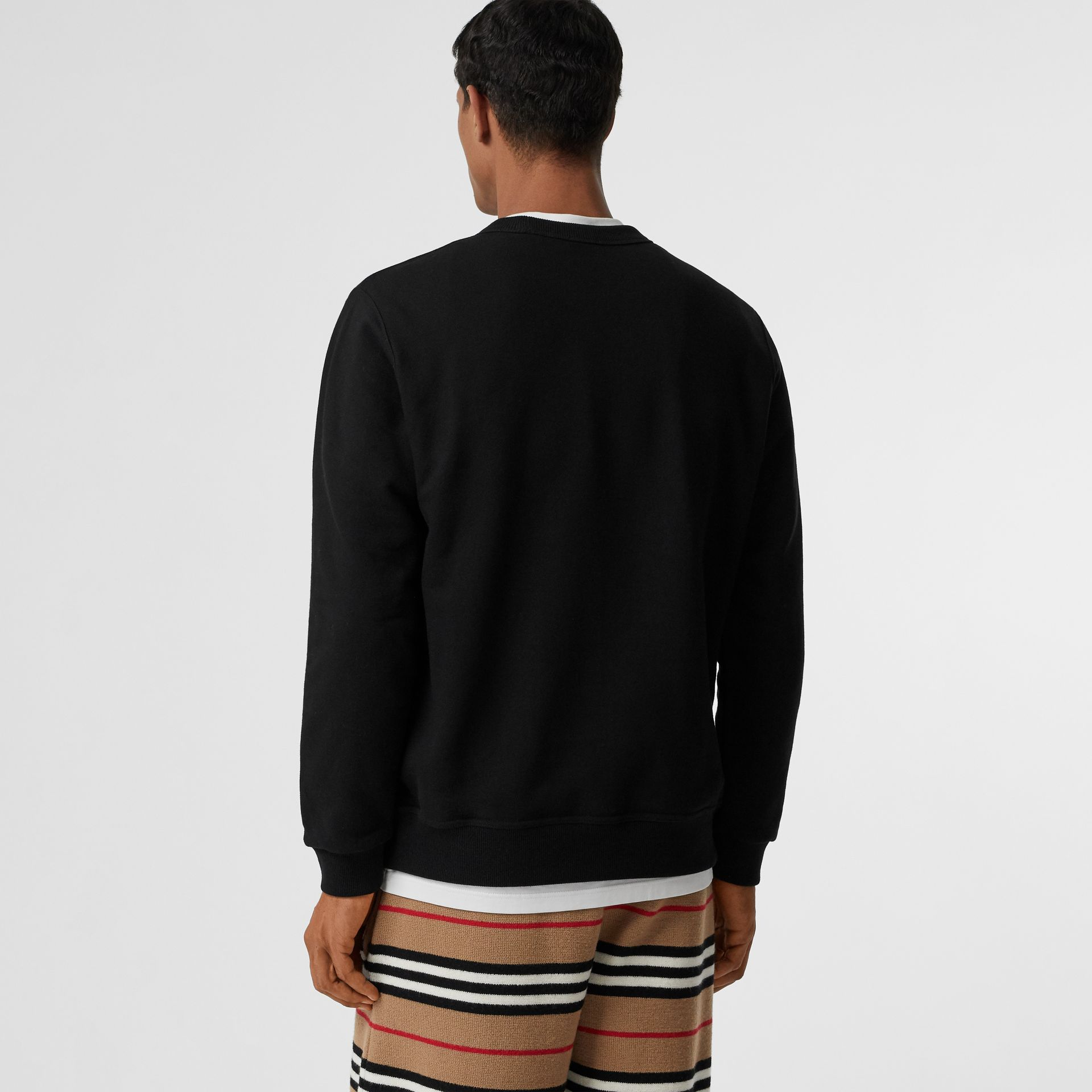 Logo Print Cotton Sweatshirt in Black - Men | Burberry - gallery image 2