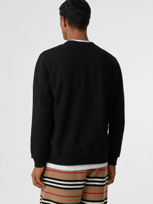 Logo Print Cotton Sweatshirt in Black - Men | Burberry Canada - cell image 2