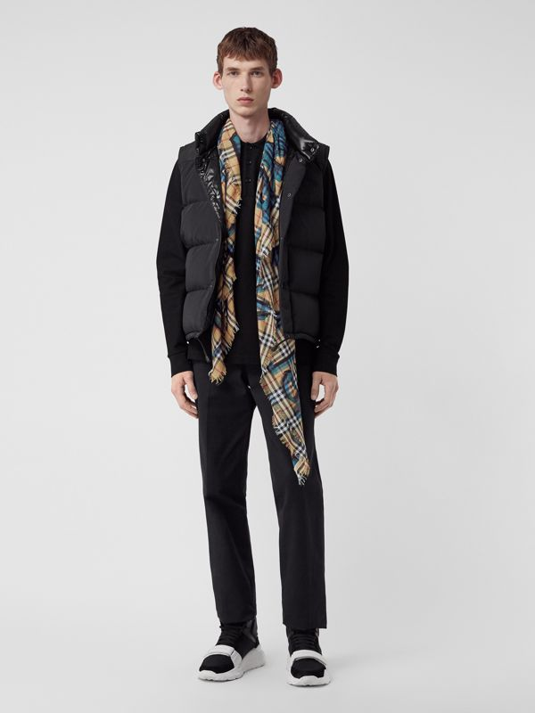 Graffiti Print Check Wool Silk Large Square Scarf in Brilliant Blue | Burberry United Kingdom - cell image 3