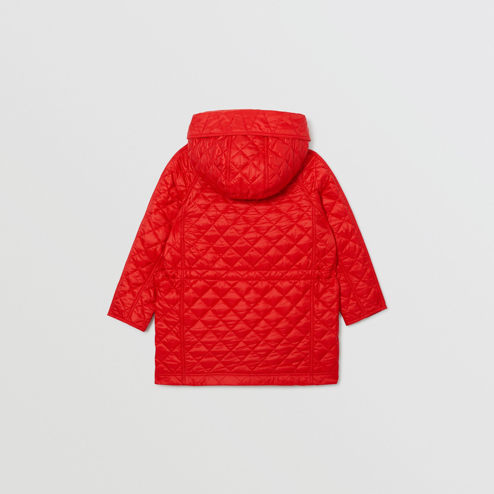 Diamond Quilted Hooded Coat in Bright Red | Burberry Australia - gallery image 4