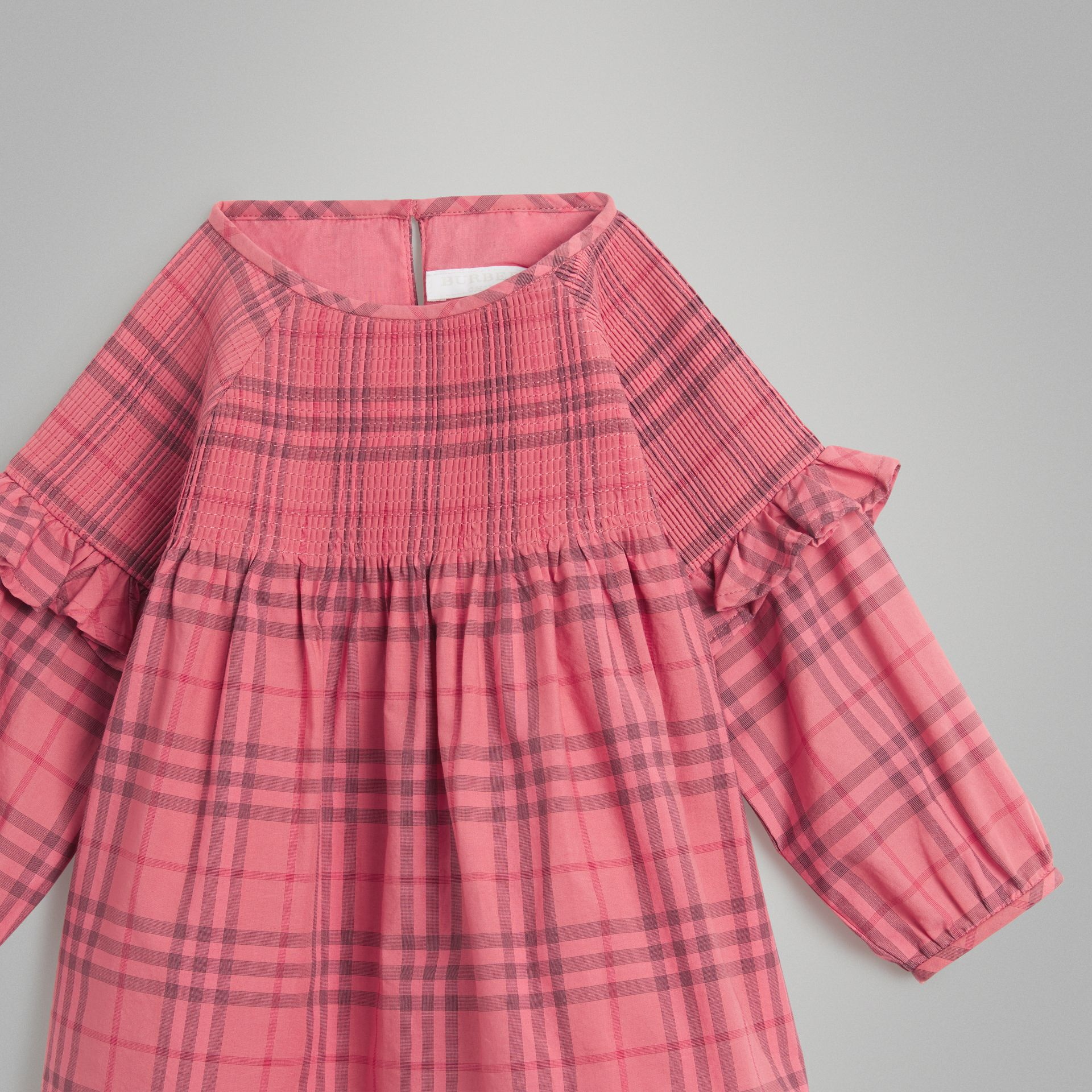 Ruffle Detail Check Cotton Dress in Coral Red - Children | Burberry Hong Kong - gallery image 4