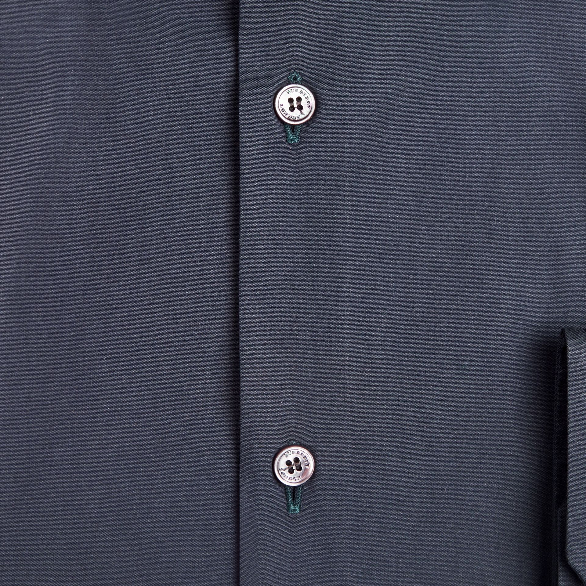 Navy Modern Fit Stretch Cotton Shirt Navy - gallery image 2
