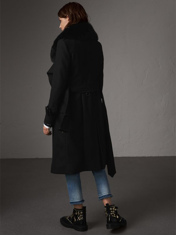 Detachable Fox Fur Trim Wool Blend Trench Coat in Black - Women | Burberry - cell image 2