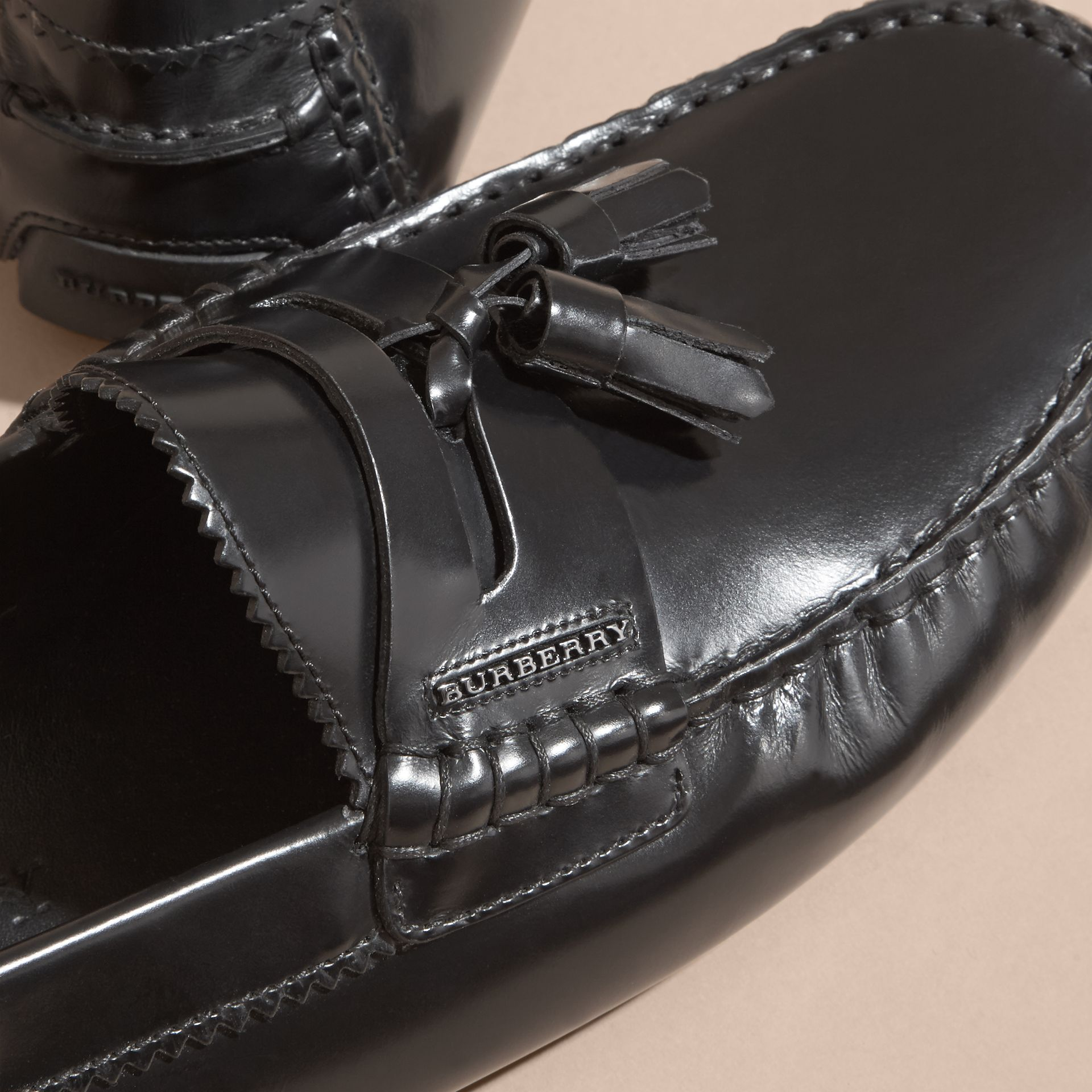 Black Tasselled Polished Leather Loafers Black - gallery image 2