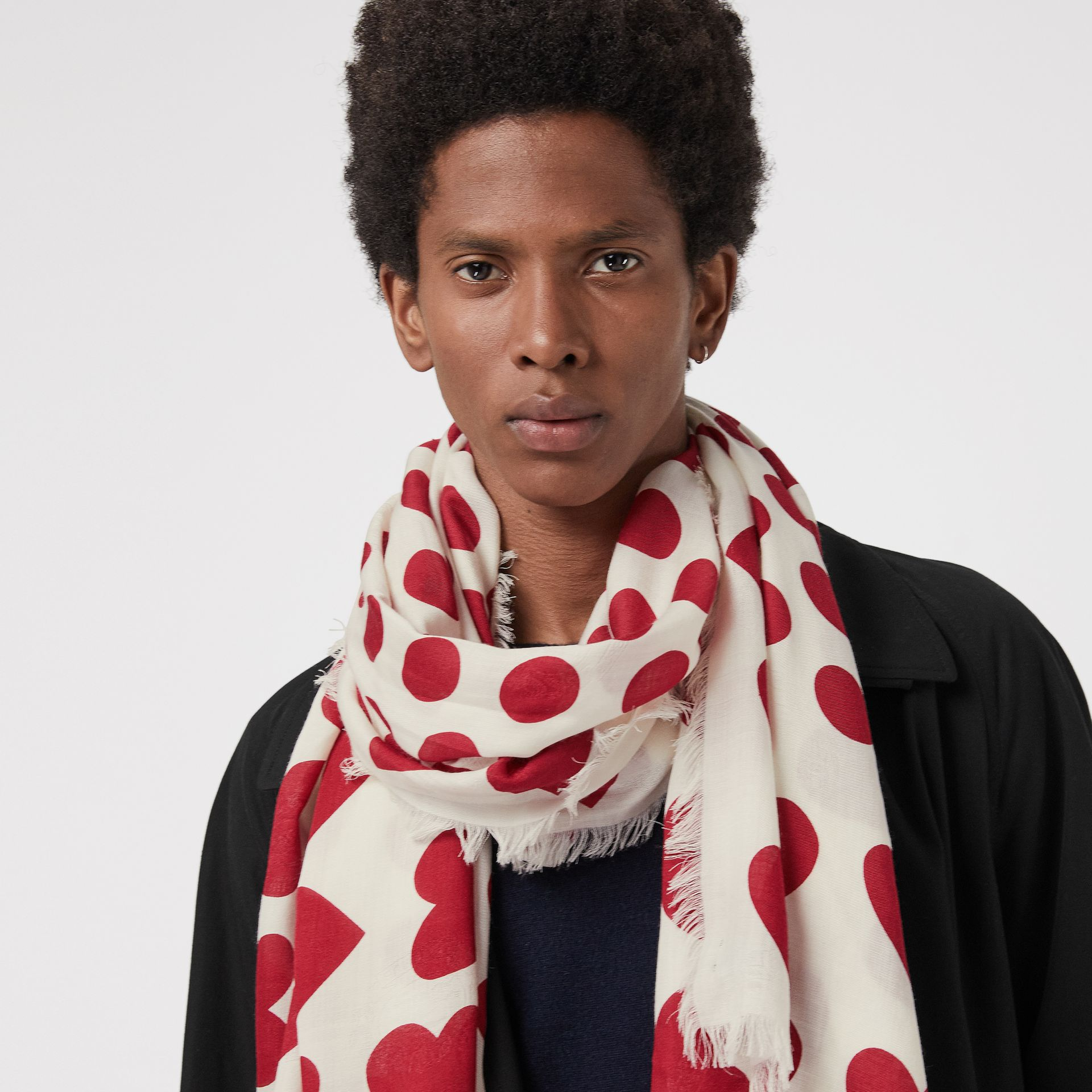 Heart and Spot Wool Silk Blend Jacquard Scarf in Windsor Red | Burberry - gallery image 5