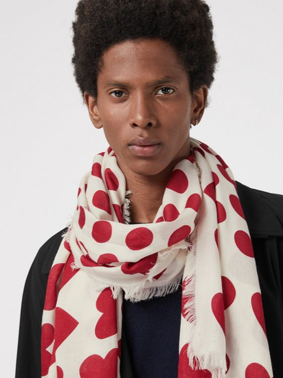 Heart and Spot Wool Silk Blend Jacquard Scarf in Windsor Red
