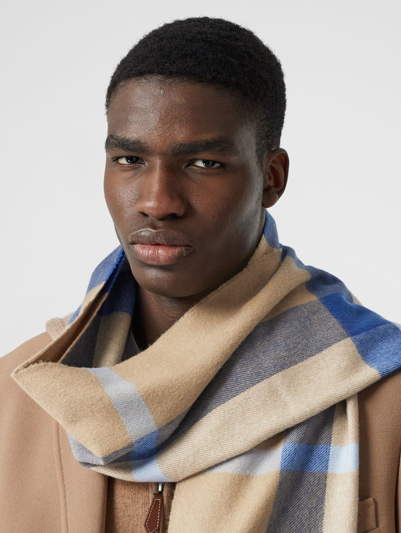 Check Cashmere Scarf in Arc Beige/inky Blue