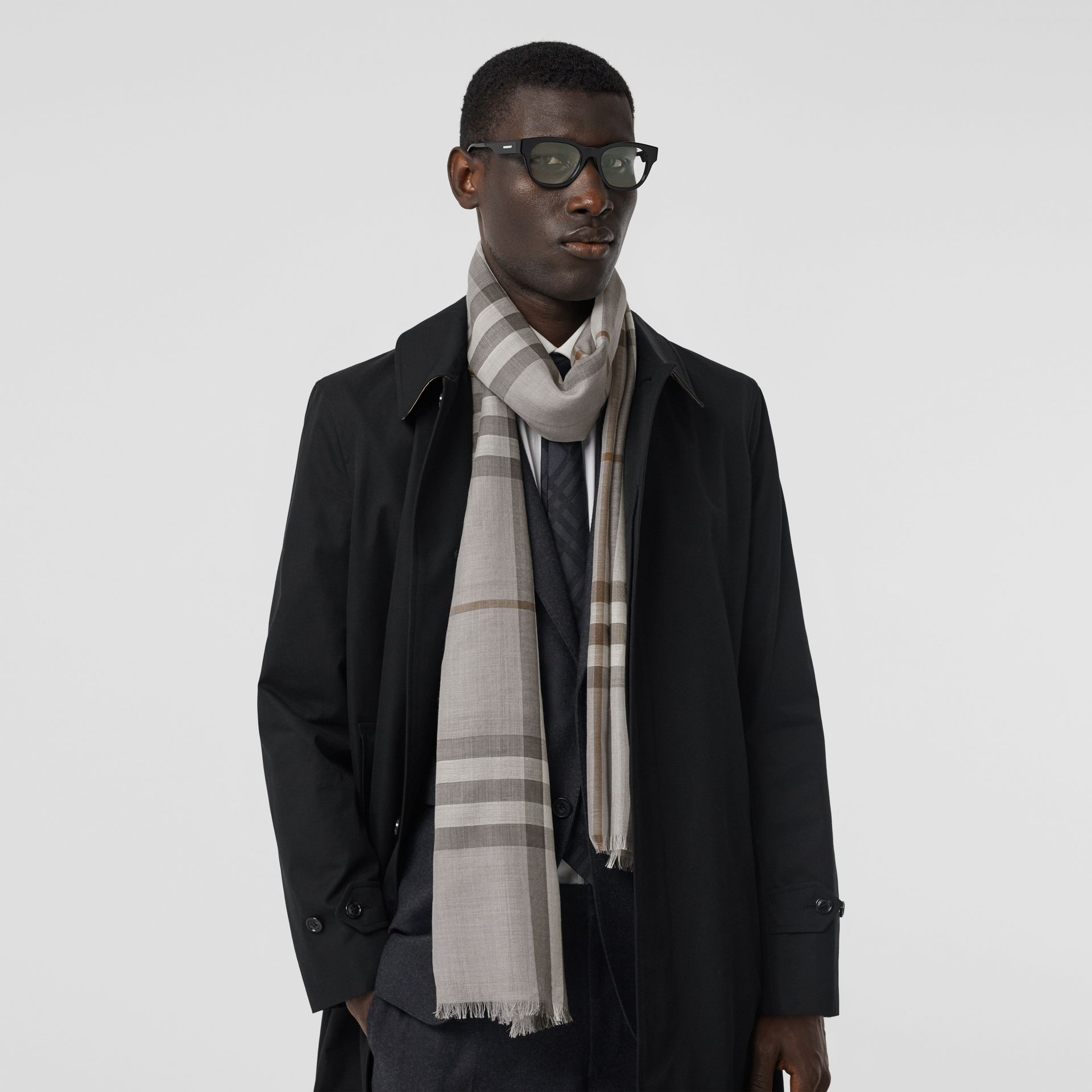 Lightweight Check Wool Silk Scarf in Grey | Burberry - gallery image 3