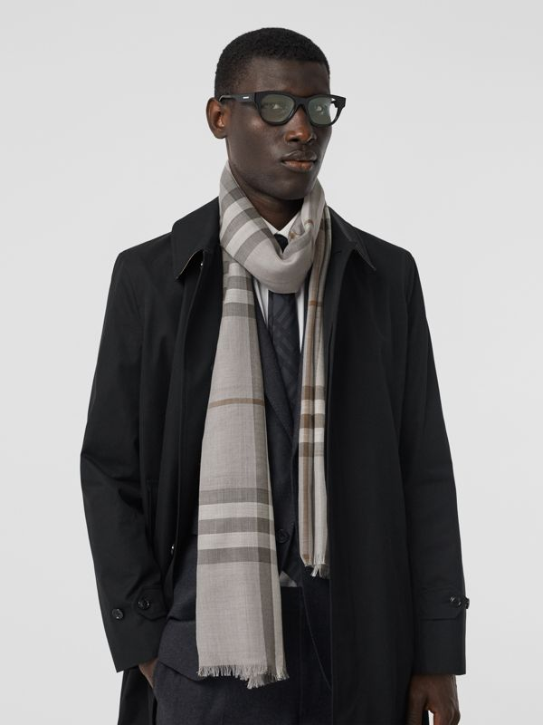 Lightweight Check Wool Silk Scarf in Grey | Burberry - cell image 3