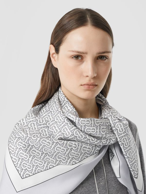 Monogram Print Silk Square Scarf in Light Pebble Grey | Burberry Australia - cell image 2
