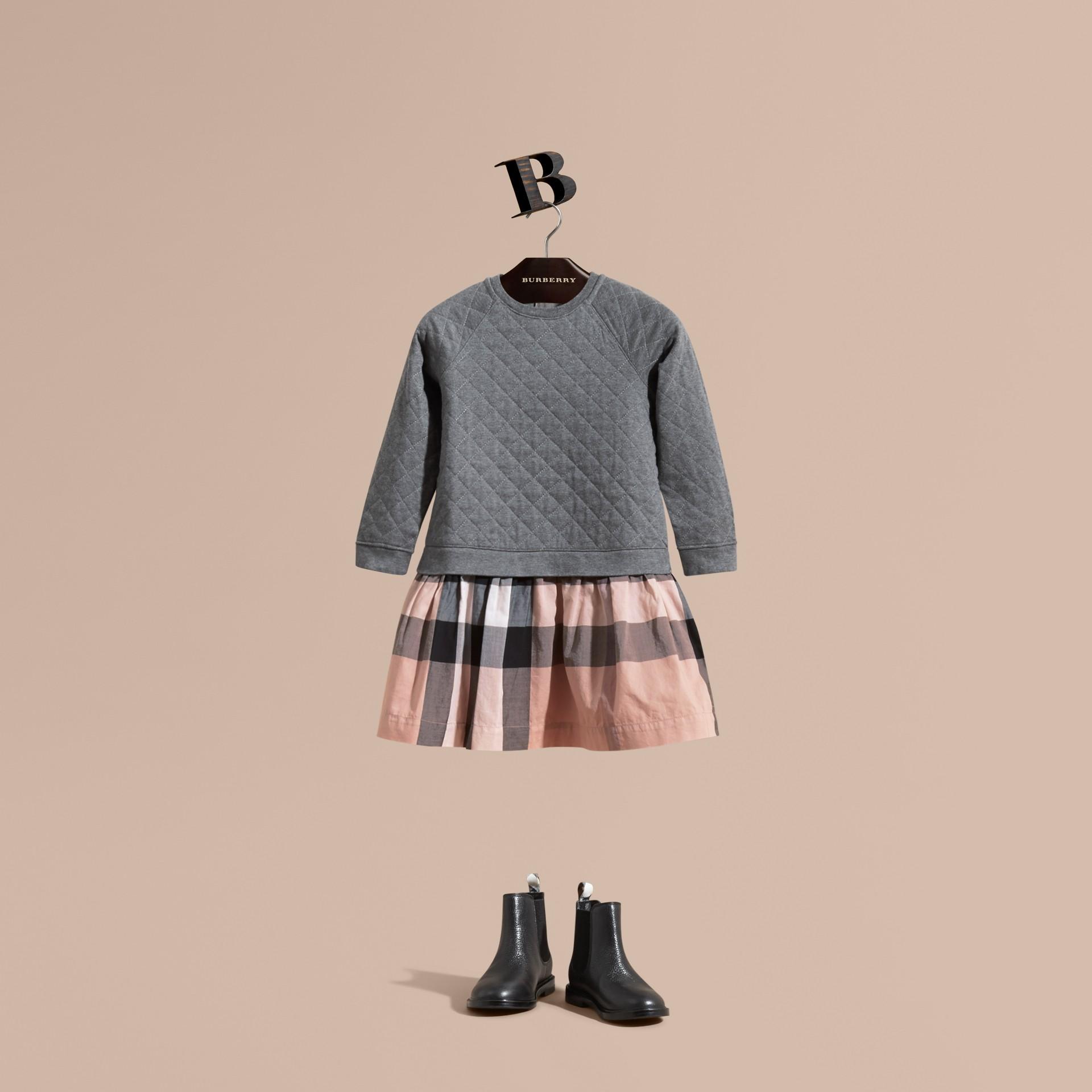 Dark grey melange Quilted Jersey and Check Cotton Day Dress Dark Grey Melange - gallery image 1