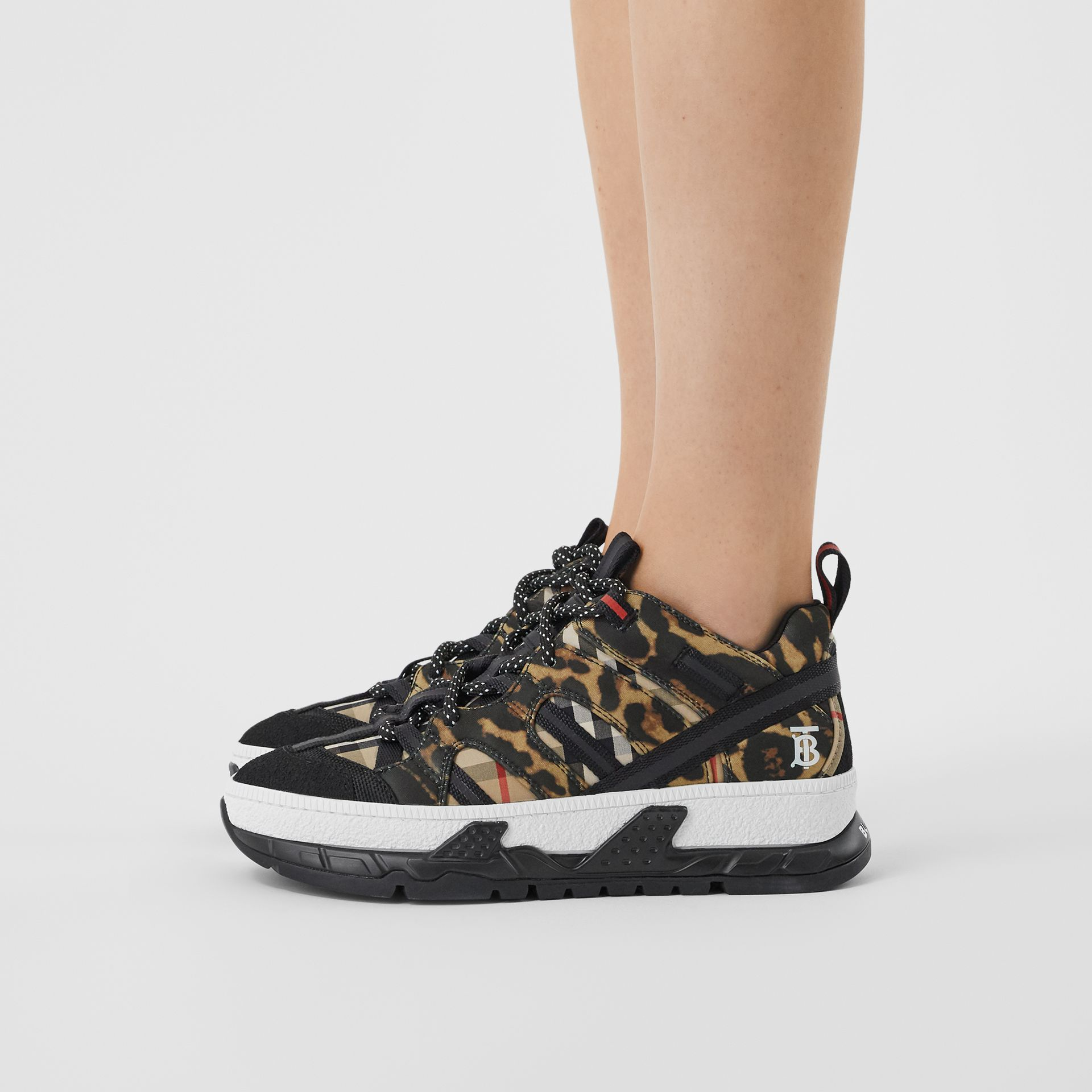 Leopard Print Neoprene and Cotton Union Sneakers in Archive Beige - Women | Burberry - gallery image 2