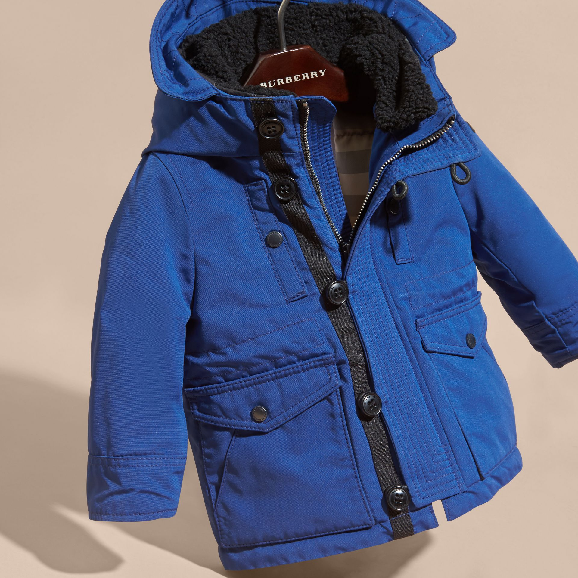 Bright cobalt Down-filled Jacket with Faux-fur-lined Hood Bright Cobalt - gallery image 3