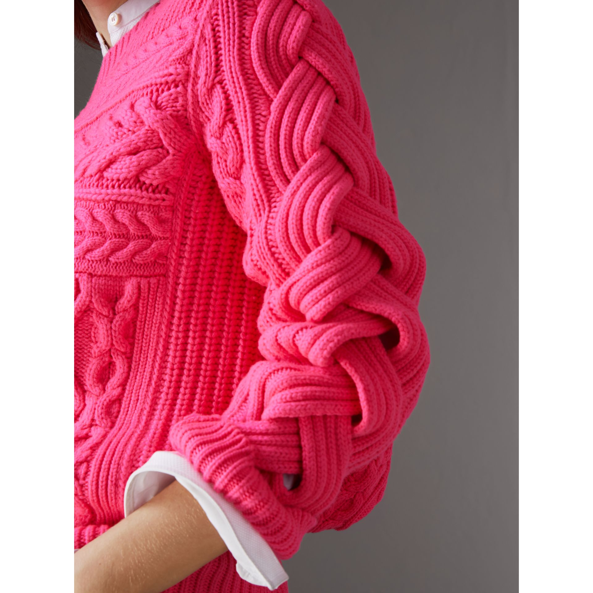 Aran Knit Wool Cashmere Sweater in Bright Rose Pink - Women | Burberry United Kingdom - gallery image 1