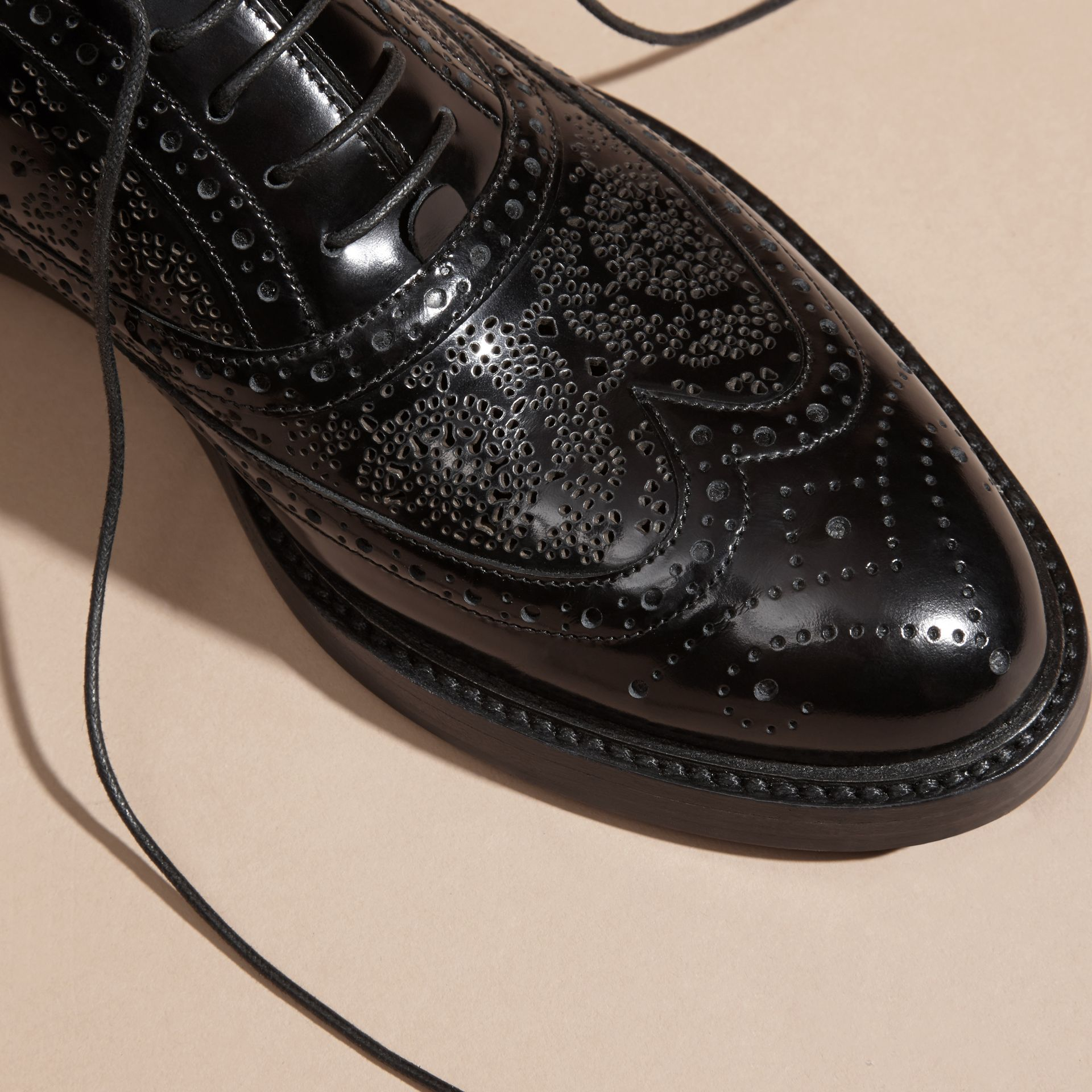Black Leather Wingtip Brogues - gallery image 2