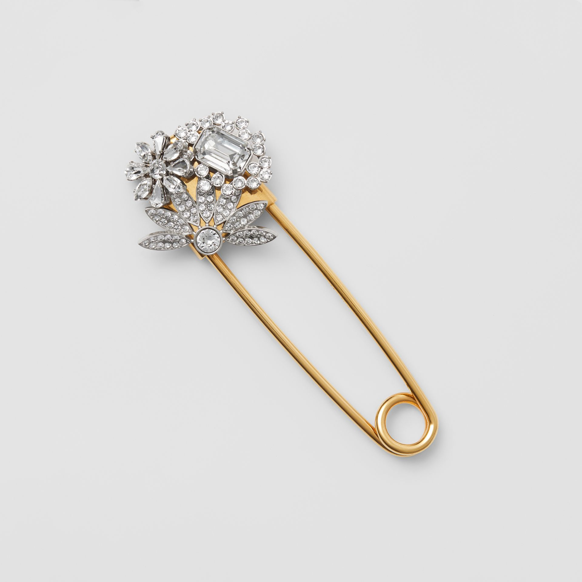 Crystal Daisy Gold-plated Kilt Pin in Natural Silver - Women | Burberry - gallery image 0