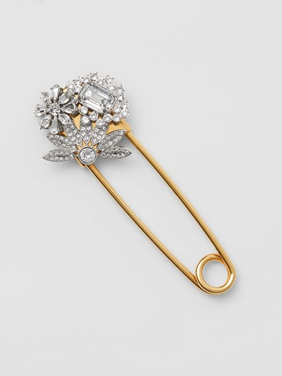Crystal Daisy Gold-plated Kilt Pin in Natural Silver