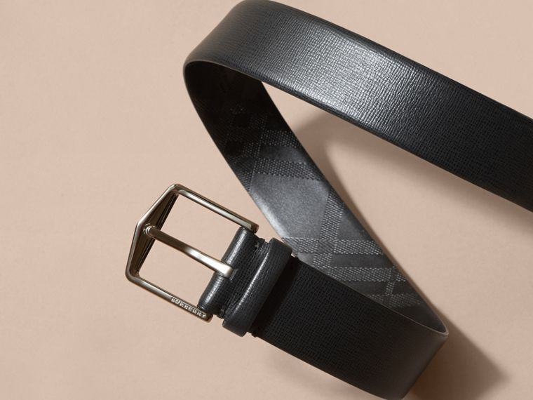 London Leather Belt with Check Detail Black - cell image 2