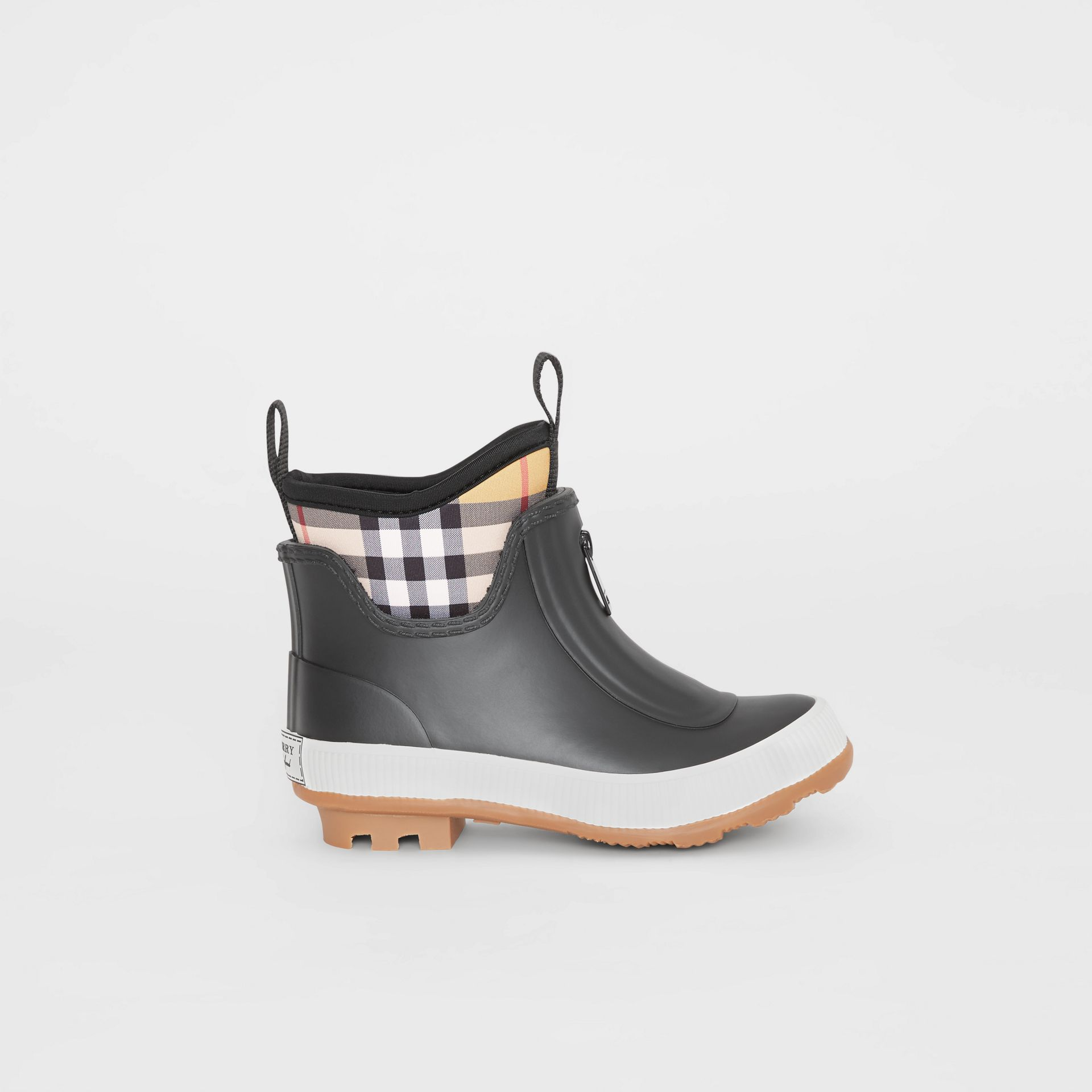 Vintage Check Neoprene and Rubber Rain Boots in Black - Children | Burberry United Kingdom - gallery image 3